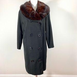 Vintage 60s black jacket mink burgundy Fur Collar